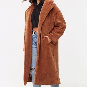 BRAND NEW w/TAGS F21 Oversized Camel Teddy Coat
